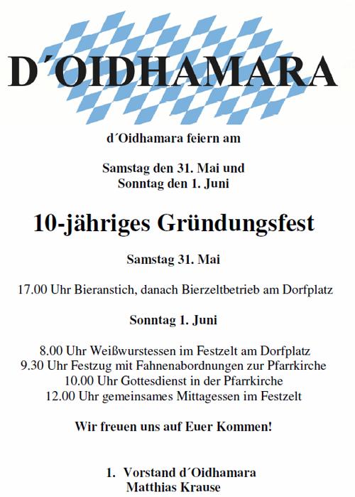 Einladung 10-jähriges Gründungsfest Oidhamara