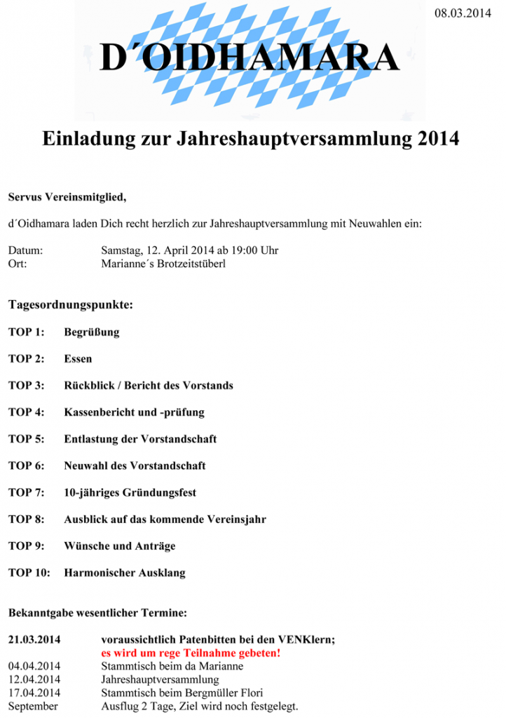 Einladung Jahreshauptversammlung 2014